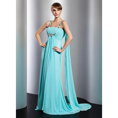 Empire Watteau Train Evening Dresses With Ruffle Beading