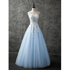 A-Line/Princess Sweetheart Floor-Length Prom Dresses With Lace Beading Appliques Lace