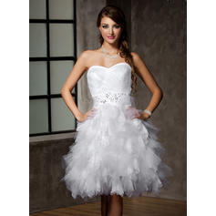 A-Line/Princess Sweetheart Knee-Length Wedding Dresses With Lace Beading Sequins Bow(s) Cascading Ruffles