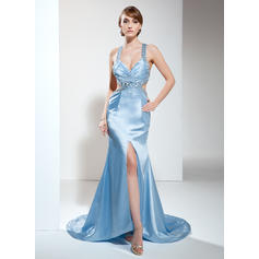 Trumpet/Mermaid V-neck Sweep Train Evening Dresses With Ruffle Beading Split Front (017017419)