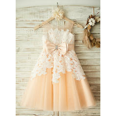 A-Line/Princess Tea-length Flower Girl Dress - Tulle/Lace Sleeveless Scoop Neck With Beading/Bow(s)
