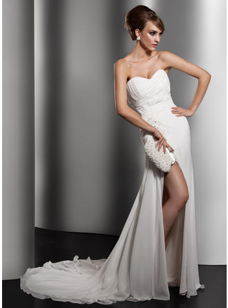 A-Line/Princess Sweetheart Chapel Train Wedding Dresses With Ruffle Lace Beading Sequins Split Front
