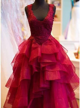 Ball-Gown Tulle Prom Dresses Appliques Lace V-neck Sleeveless Floor-Length