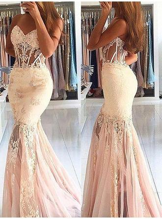 Trumpet/Mermaid Sweetheart Sweep Train Prom Dresses With Lace Beading