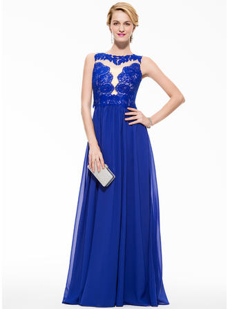 A-Line/Princess Chiffon Lace Prom Dresses Scoop Neck Sleeveless Floor-Length