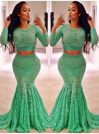 Trumpet/Mermaid Lace Prom Dresses Ruffle Beading Scoop Neck Long Sleeves Sweep Train