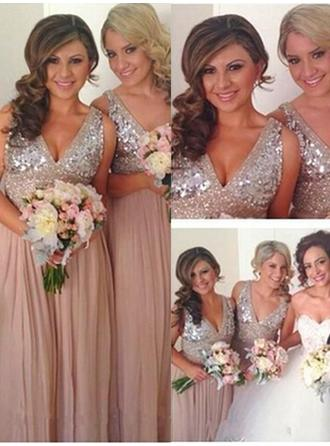 A-Line/Princess Chiffon Sequined Bridesmaid Dresses V-neck Sleeveless Floor-Length