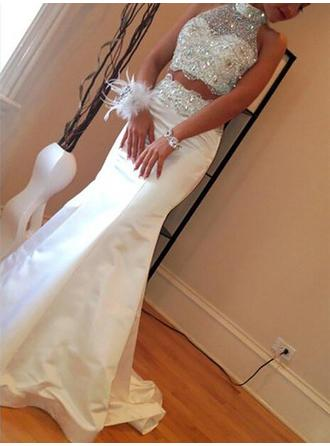 Trumpet/Mermaid Satin Prom Dresses Beading High Neck Sleeveless Sweep Train