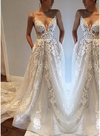 Chic Deep V Neck A-Line/Princess Wedding Dresses Court Train Tulle Sleeveless