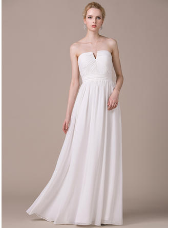 Fashion Strapless A-Line/Princess Wedding Dresses Floor-Length Chiffon Sleeveless