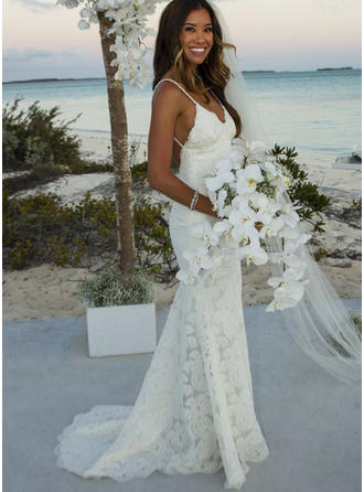 Trumpet/Mermaid V-neck Sweep Train Wedding Dresses