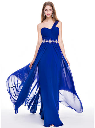 A-Line/Princess Chiffon Prom Dresses Ruffle Beading Sequins One-Shoulder Sleeveless Sweep Train