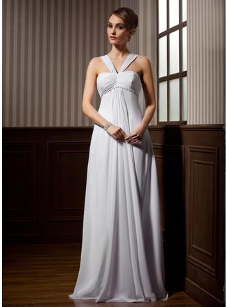 Empire Sweetheart Sweep Train Wedding Dresses With Ruffle Beading