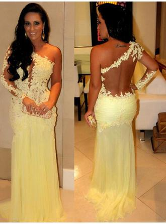Sheath/Column Chiffon Prom Dresses Appliques Lace One-Shoulder Long Sleeves Sweep Train