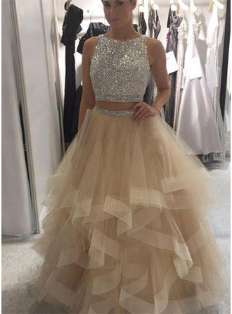 Ball-Gown Scoop Neck Floor-Length Prom Dresses With Ruffle