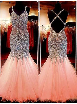 Trumpet/Mermaid V-neck Floor-Length Evening Dresses With Beading Sequins