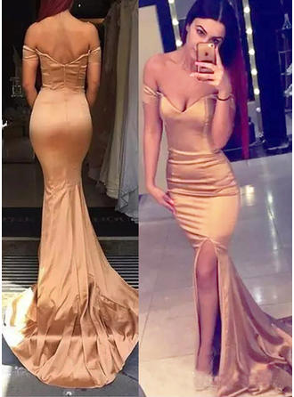 Trumpet/Mermaid Off-the-Shoulder Sweep Train Evening Dresses With Split Front