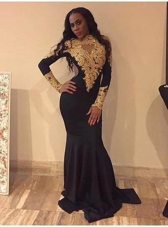 Trumpet/Mermaid Satin Prom Dresses Appliques Lace High Neck Long Sleeves Sweep Train