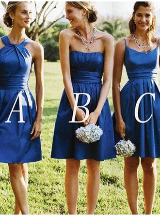 A-Line/Princess Satin Bridesmaid Dresses Ruffle Strapless Sleeveless Short/Mini