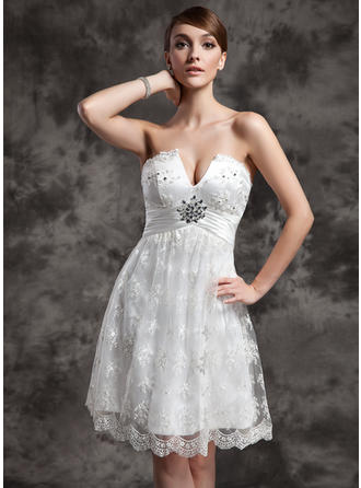 Empire Sweetheart Knee-Length Wedding Dresses With Ruffle Beading Sequins