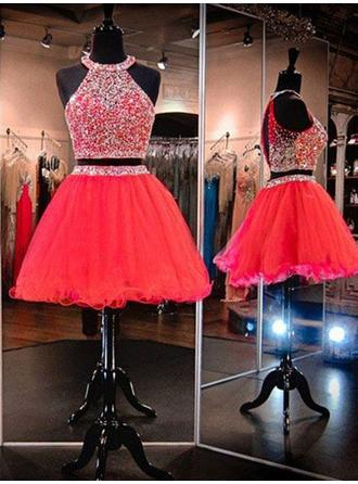 A-Line/Princess Scoop Neck Short/Mini Homecoming Dresses With Beading
