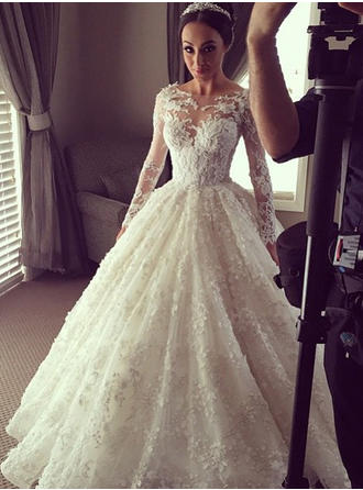 Ball-Gown Lace Long Sleeves Scoop Chapel Train Wedding Dresses