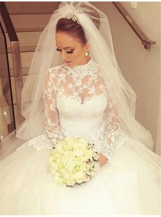 Ball-Gown Lace Long Sleeves High Neck Cathedral Train Wedding Dresses