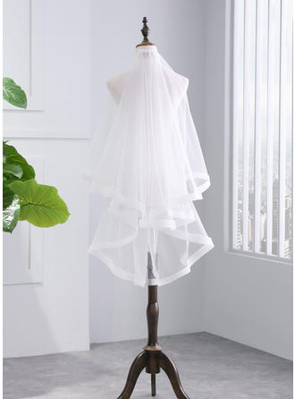 Fingertip Bridal Veils Tulle Two-tier With Ribbon Edge With Ribbon Wedding Veils
