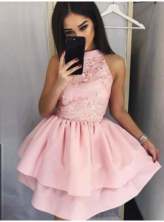 A-Line/Princess High Neck Short/Mini Satin Homecoming Dresses With Ruffle Appliques Lace