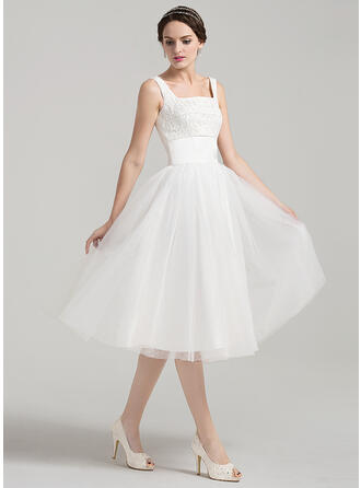 A-Line Square Neckline Knee-Length Tulle Lace Wedding Dress