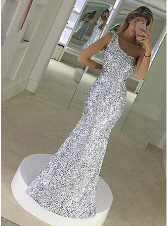 Trumpet/Mermaid Floor-Length Prom Dresses One-Shoulder Sequined Sleeveless