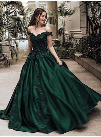 Ball-Gown Off-the-Shoulder Sweep Train Prom Dresses With Beading Appliques