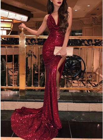 Trumpet/Mermaid Cowl Neck Sweep Train Prom Dresses With Ruffle (018218131)