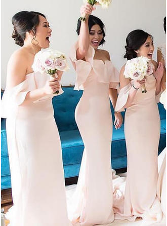 Trumpet/Mermaid Off-the-Shoulder Sweep Train Bridesmaid Dresses With Cascading Ruffles