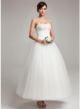Ball-Gown Sweetheart Ankle-Length Chiffon Tulle Wedding Dress With Ruffle Lace