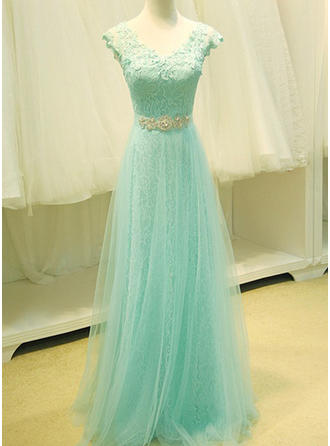 A-Line/Princess Tulle Prom Dresses Lace Beading Sequins V-neck Sleeveless Floor-Length