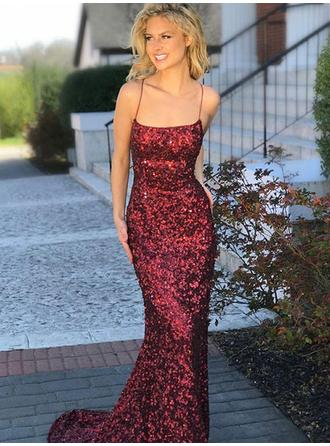 Trumpet/Mermaid Square Neckline Sweep Train Prom Dresses