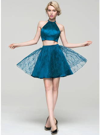 A-Line/Princess Scoop Neck Short/Mini Tulle Lace Homecoming Dresses