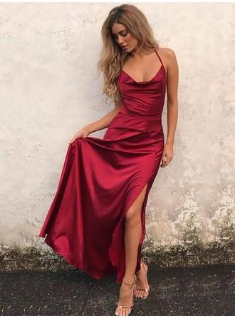 A-Line/Princess Cowl Neck Floor-Length Prom Dresses