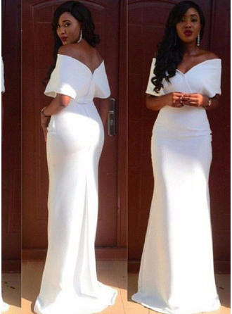 Sheath/Column Off-the-Shoulder Sweep Train Evening Dresses
