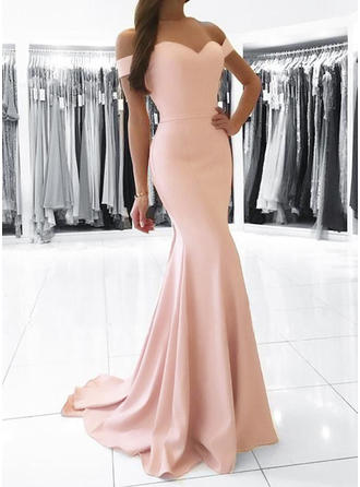 Trumpet/Mermaid Off-the-Shoulder Sweep Train Evening Dresses