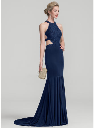 Trumpet/Mermaid Scoop Neck Sweep Train Jersey Prom Dresses