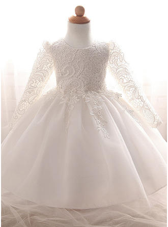A-Line/Princess Scoop Neck Floor-length Tulle Christening Gowns