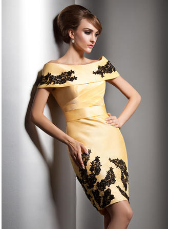 Sheath/Column Off-the-Shoulder Knee-Length Evening Dresses With Beading Appliques Lace Sequins