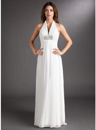 Simple Halter A-Line/Princess Wedding Dresses Court Train Chiffon Sleeveless