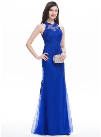 Trumpet/Mermaid Scoop Neck Floor-Length Tulle Prom Dresses