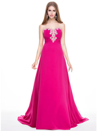 A-Line/Princess Sweetheart Sweep Train Prom Dresses With Ruffle Beading Sequins