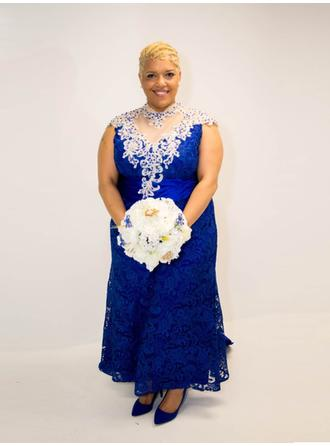 A-Line/Princess High Neck Sweep Train Mother of the Bride Dresses With Beading Appliques