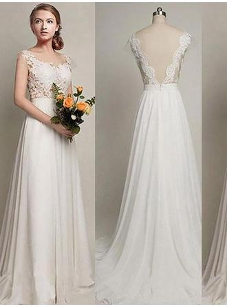 Fashion Scoop A-Line/Princess Wedding Dresses Sweep Train Chiffon