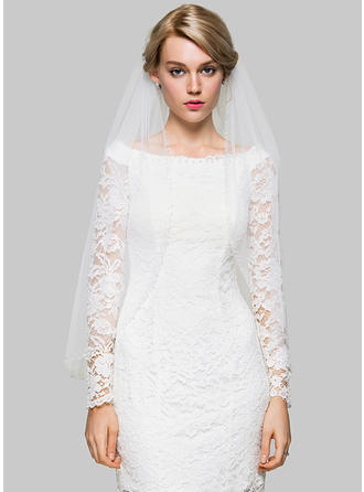 Fingertip Bridal Veils Tulle One-tier Classic With Beading Wedding Veils